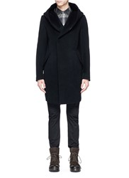 Attachment Wool Cashmere Melton Hooded Coat Black