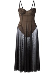 Norma Kamali Sheer Flared Dress Black