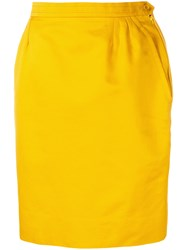 Yves Saint Laurent Vintage High Rise Straight Skirt Yellow And Orange