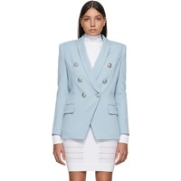 Balmain Blue Wool Double Breasted Blazer