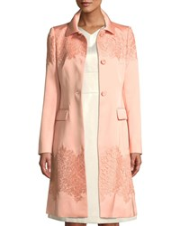 Escada Lace Trimmed Satin Trench Coat Black