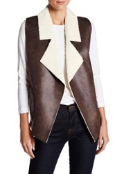 French Connection Winter Rhoda Faux Shearling Vest Brown