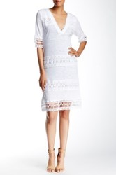 Cullen Crochet Trim Linen Tunic Dress White