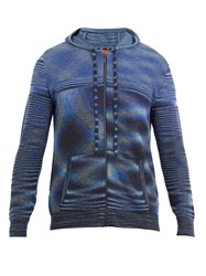 Missoni Zip Up Hooded Knit Sweater Blue Multi