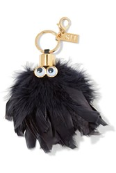 Sophie Hulme Sam Leather Trimmed Feather Keychain Black