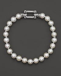 Bloomingdale's Cultured Freshwater Pearl Bracelet In 14K White Gold With Diamonds