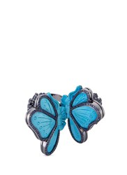 Lydia Courteille Diamond Sapphire Turquoise 18K Gold Butterfly Two Finger Ring Metallic