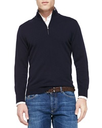 Brunello Cucinelli Cashmere Half Zip Sweater Navy