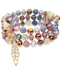 Lonna And Lilly Bead Crystal Stretch Bracelet Purple Gold