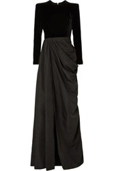 Alex Perry Chandler Draped Taffeta And Velvet Gown Black