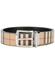 Burberry Reversible Vintage Check E Canvas And Leather Belt Neutrals