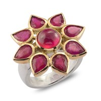 Emma Chapman Jewels Star Ruby Gold Ring Red