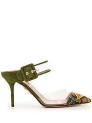 Aquazzura Clear Panel Mules Green