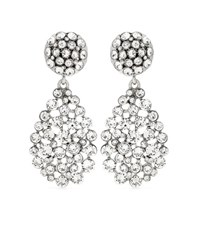Oscar De La Renta Crystal Embellished Clip On Earrings Silver