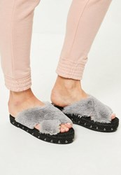 Missguided Grey Faux Fur Cross Strap Studded Sliders