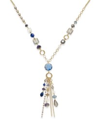 Inc International Concepts Gold Tone Multi Bead Tassel Pendant Necklace Only At Macy's Blue