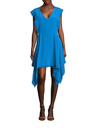 Sandro Rodia Fringed Silk Dress Turquoise
