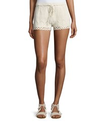 Joie Maera B Crocheted Drawstring Shorts Women's Size L Natural
