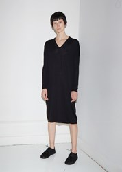 6397 Extra Fine Merino Wool V Neck Dress Black