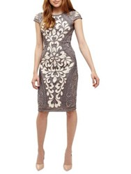 Phase Eight Perdy Tapework Embellished Dress Grey