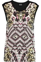 Just Cavalli Printed Satin And Jersey T Shirt