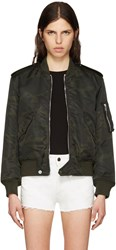 Saint Laurent Green Camo Aviator Bomber Jacket