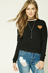 Forever 21 Heart Pizza Patch Sweatshirt Black