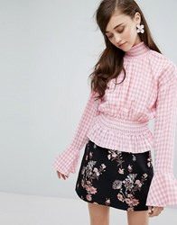 Sister Jane High Neck Blouse In Gingham Pink