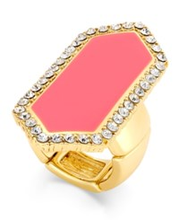 Thalia Sodi Pink Enamel And Crystal Stretch Statement Ring Only At Macy's Gold