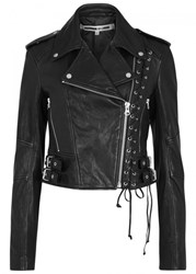 Mcq By Alexander Mcqueen Black Lace Up Leather Biker Jacket