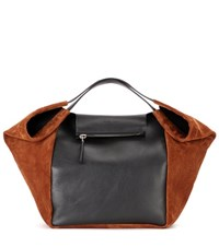 Givenchy Shopping With Zip Leather And Suede Tote Bag Black