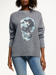 360 Sweater Felice Skull Print Jumper Grey Multi