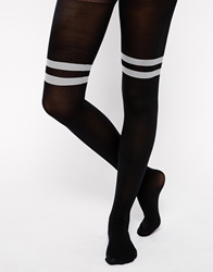 Asos 40 Denier Tights With Contrast Stripe Over The Knee Design Black