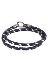 Tod's Tods Braided Leather Wrap Bracelet Blue