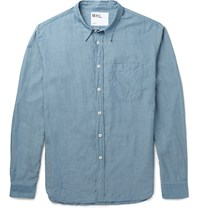 Margaret Howell Mhl Slim Fit Cotton Chambray Shirt Blue