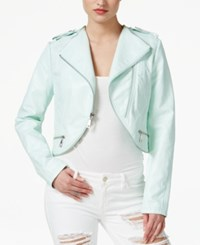 Guess Gianna Cropped Faux Leather Moto Jacket Moonlight Jade