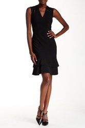 Anne Klein Peplum Sequin Mesh Cocktail Dress Black