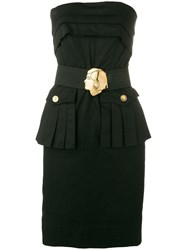Chanel Vintage Strapless Belted Short Dress Black