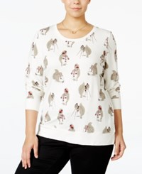Styleandco. Style Co. Plus Size Squirrel Graphic Sweatshirt Top Only At Macy's Winter White