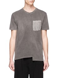 The Viridi Anne Staggered Hem Washed Cotton Jersey T Shirt Grey