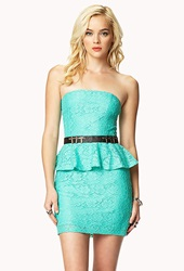 Forever 21 Strapless Lace Peplum Dress Mint