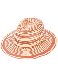 Rag And Bone Striped Panama Hat Women Straw S M Red