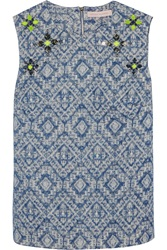 Matthew Williamson Embellished Cotton Blend Jacquard Top Blue