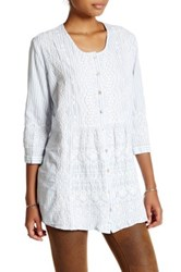 3J Workshop Embroidered Stripe Button Front Tunic Multi