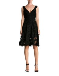 Dress The Population Maya Floral Lace Fit And Flare Black