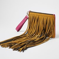 River Island Tan And Pink Suede Fringe Clutch Bag