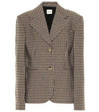 Khaite Kendall Checked Wool Blend Blazer Brown