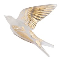 Lalique Hirondelles Swallow Wings Up Crystal Sculpture Clear And Gold
