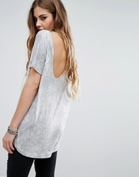 Religion T Shirt With Open Back Detail Gray