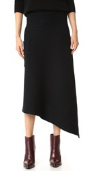 Tibi Merino Ribbed Origami Wrap Skirt Black